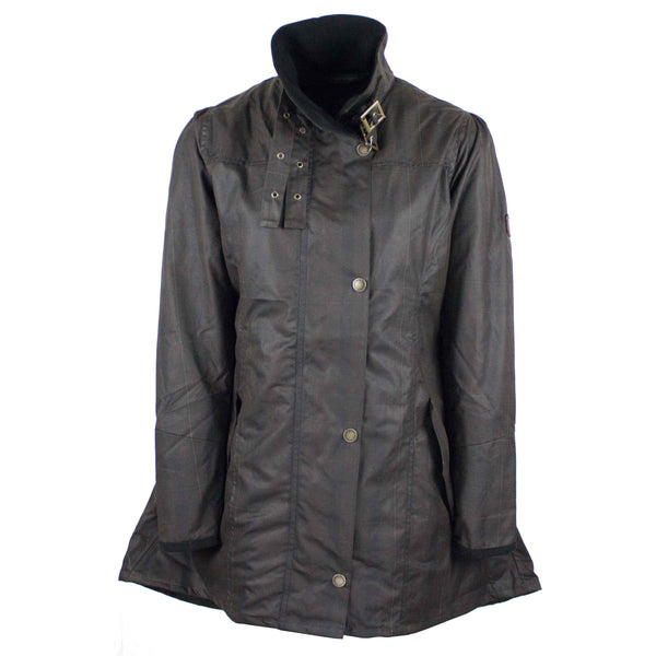 W49 - Women's Katrina Tartan Waxed Jacket - CALEDONIA - Oxford Blue