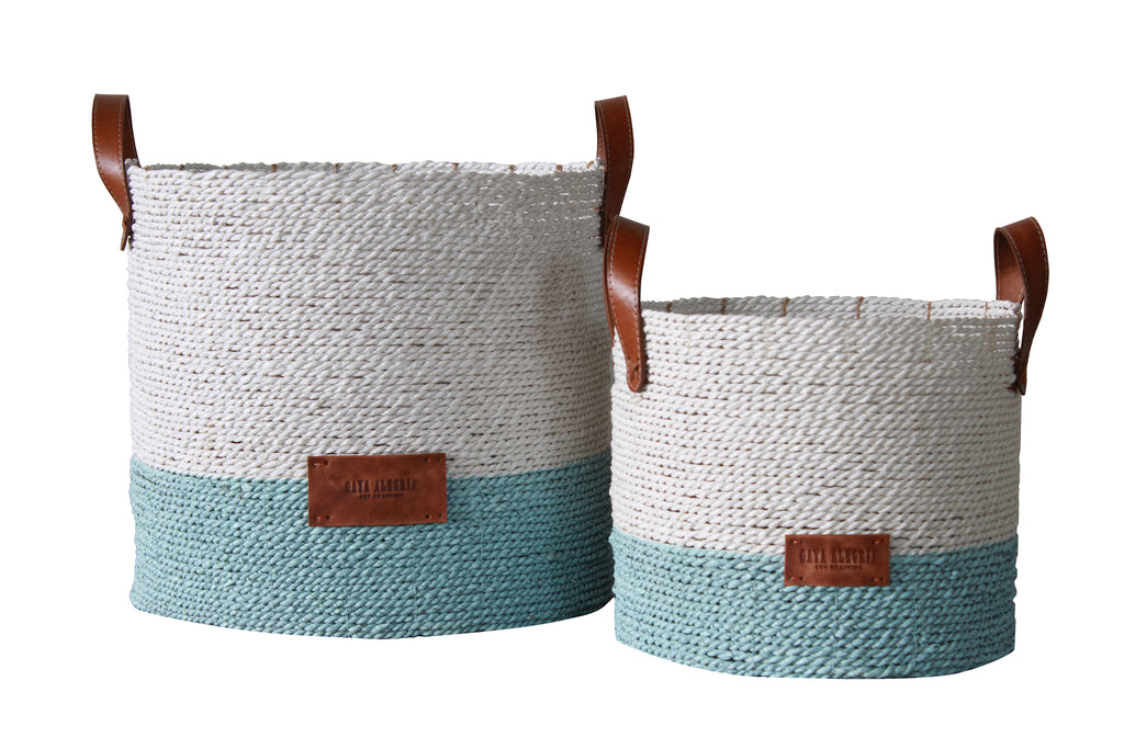 Round Basket SEAGRASS - Dora (White Top, Sky Blue base)
