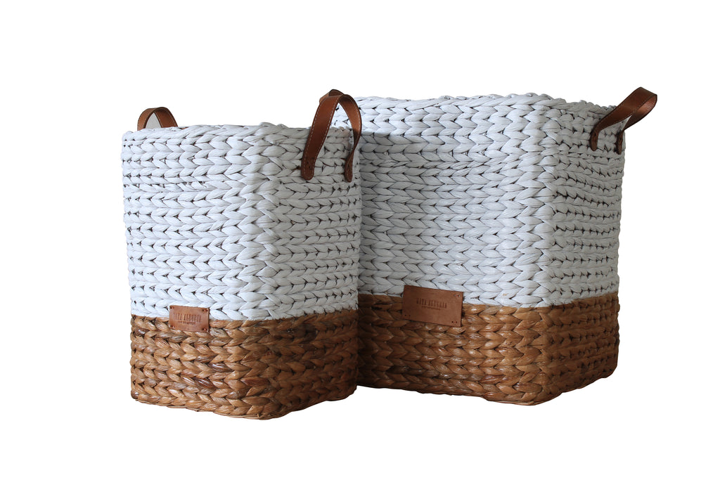 Square Basket WATER HYACINTH - DORITA (White Top, Natural base)