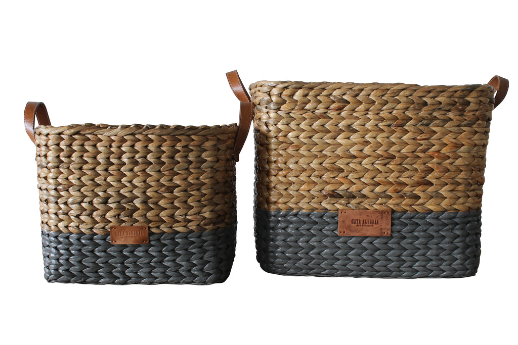 Rectangle Basket WATER HYACINTH - DESSA (Natural Top, Grey base)