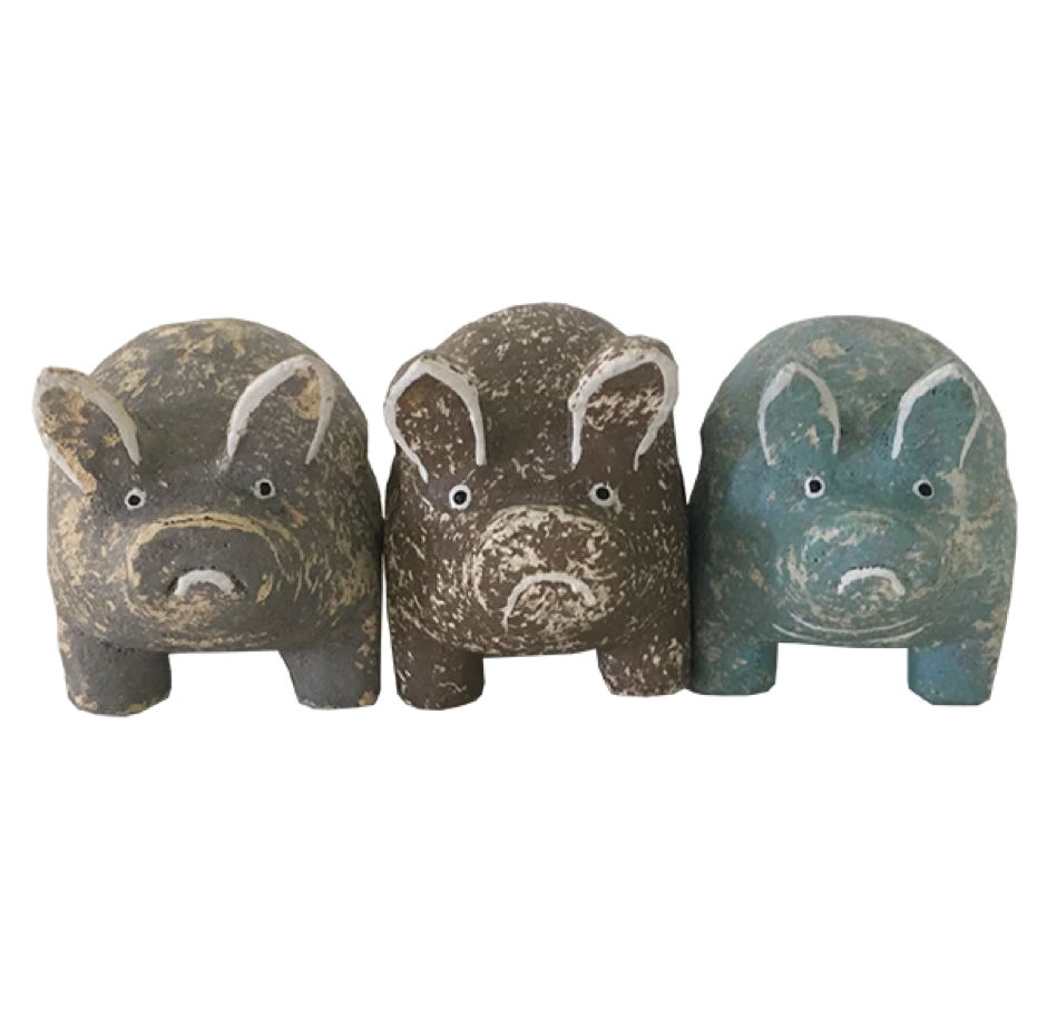 Wooden Rustic Pigs - Set of 3! | Gaya Alegria