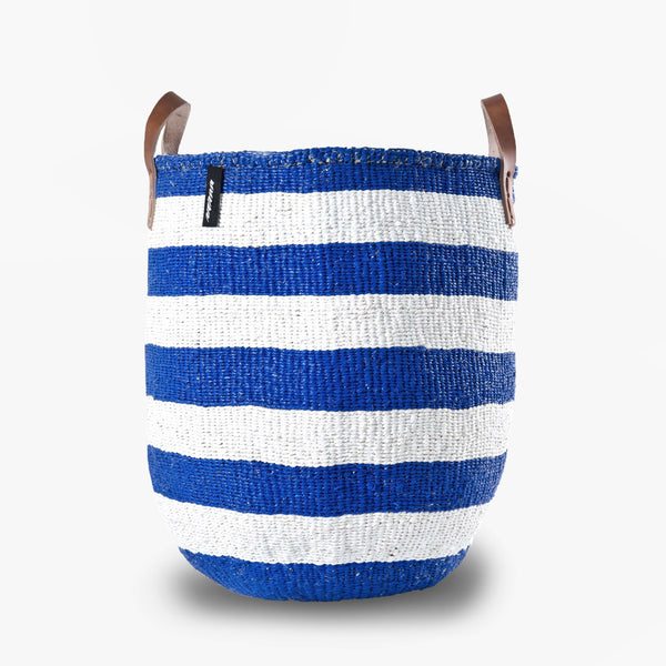 Mono Basket - Adia Blue with Leather Handles