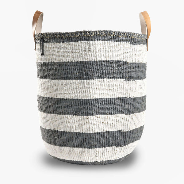 Mono Basket - Adia Gray with Leather Handles