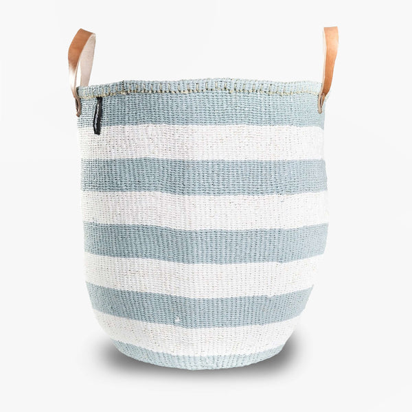Mono Basket - Adia Light Blue with Leather Handles