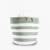 Mono Basket - Adia Light Green with Leather Handles