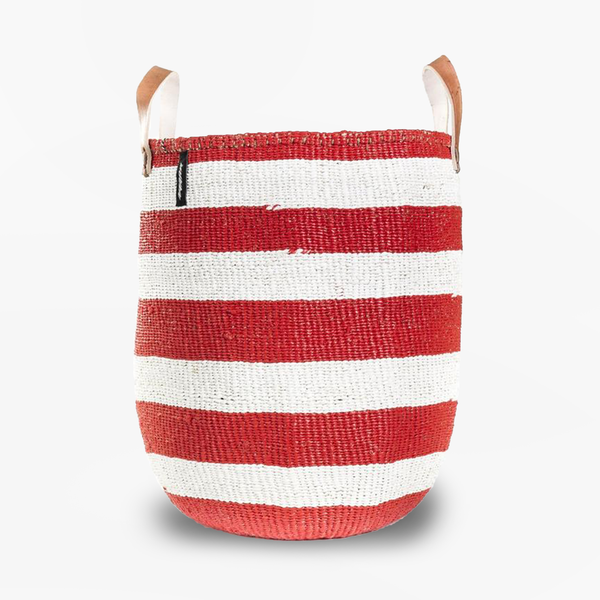 Mono Basket - Adia Red with Leather Handles