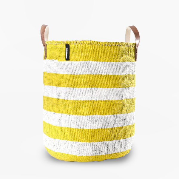 Mono Basket - Adia Yellow with Leather Handles