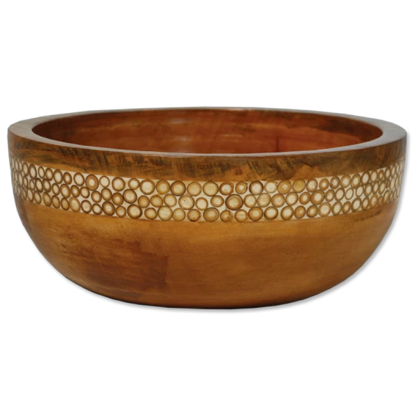 Natural Inlaid Mango wooden Salad Bowl | Gaya Alegria