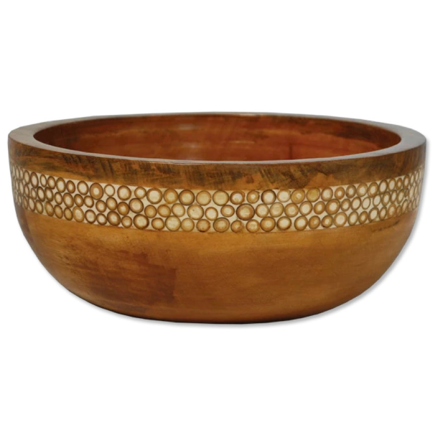 Natural Inlaid Mango wooden Salad Bowl