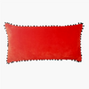 Cushion Cover - Baldu Red with black Pom-pom fringe