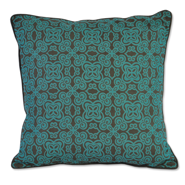 Cushion Cover - Basque Teal Brown (S) | Gaya Alegria