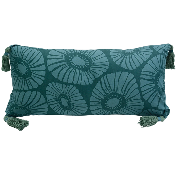 Cushion Cover - Dark teal green flower (30x60cm) | Gaya Alegria