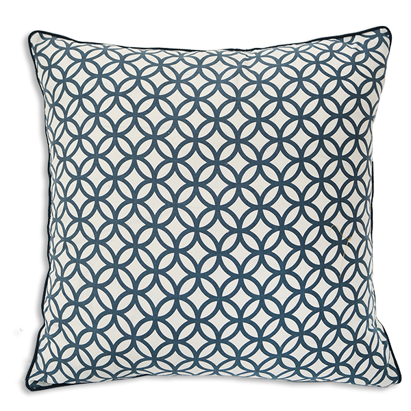 Cushion Cover 45 - Rings Denim Blue (M/45X45cm) | Gaya Alegria