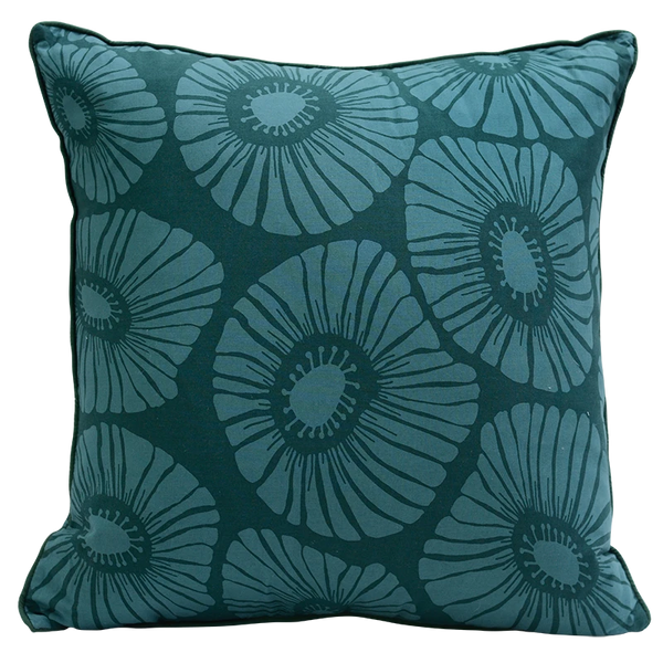 Cushion Cover - Dark teal green flower (L/50x50cm) | Gaya Alegria