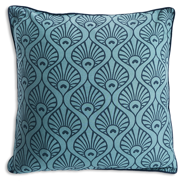 Cushion Cover  - Pavo Wave Teal Navy (L/50x50cm) | Gaya Alegria