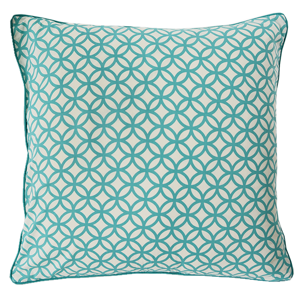 Cushion Cover - Rings Turquoise (L/50X50cm) | Gaya Alegria