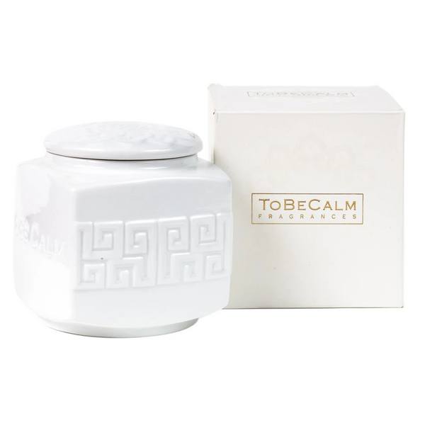 Scented Candle - To Be Calm - White Porcelain Tea Caddy Candle (L) | Gaya Alegria
