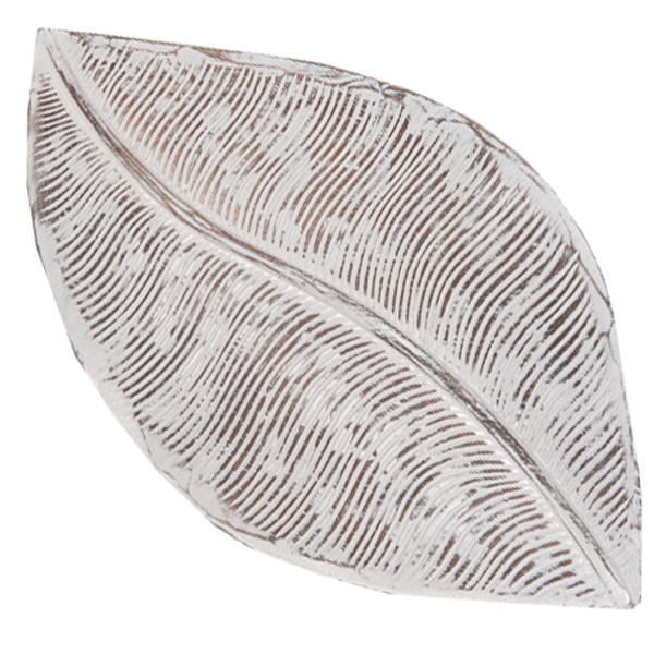 Wooden Leaf Tray - White Washed | Gaya Alegria
