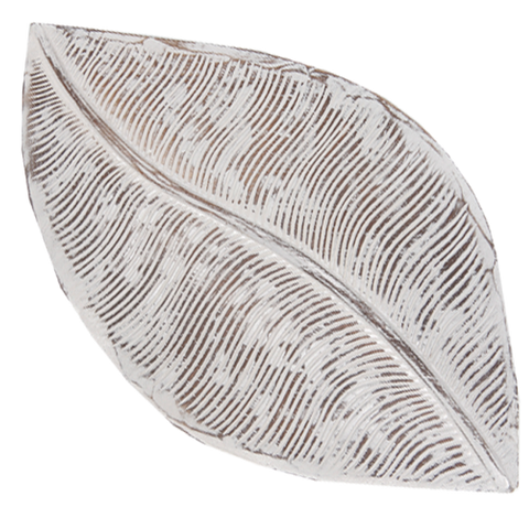 White Wooden Tray-Leaf