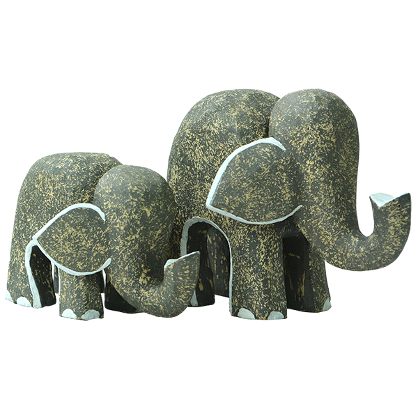Wooden Rustic Elephants (set of 2)