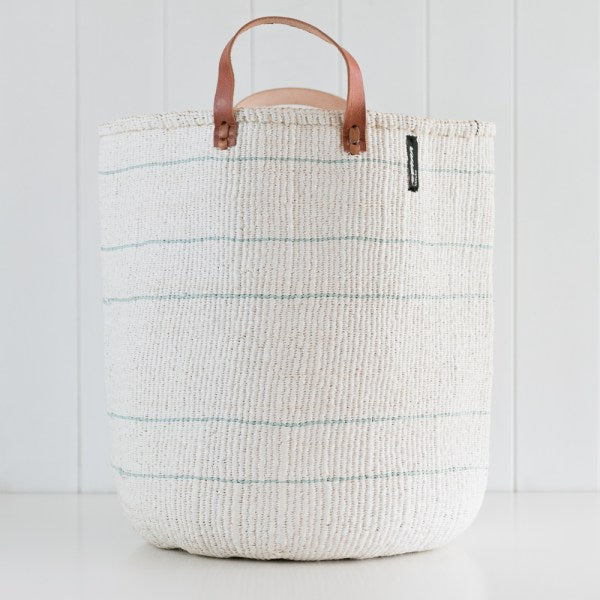 Basket - Barika (Light Blue on White - 5 stripes & Leather Handles) | Gaya Alegria