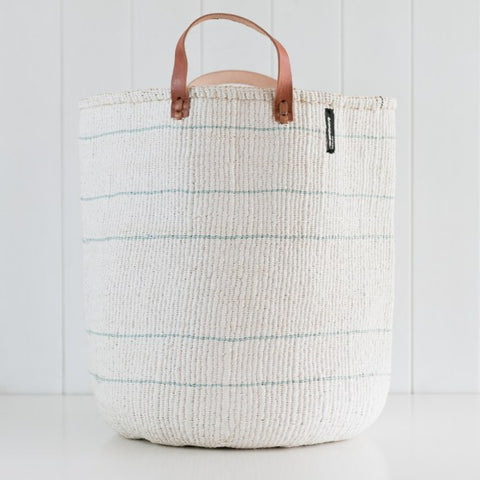 Basket - Barika (Light Blue on White - 5 stripes & Leather Handles)