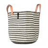 Mono Basket - Nora (L. Grey/White thin stripe & Leather Handles) | Gaya Alegria