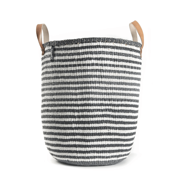 Mono Basket Nora - Grey & white (leather handles) | Gaya Alegria