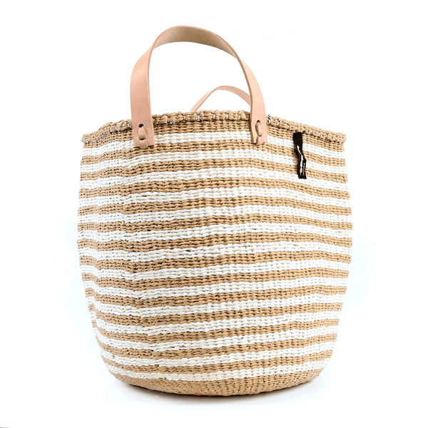 Mono Basket Nora - Light brown & white thin stripe (Leather Handles) | Gaya Alegria