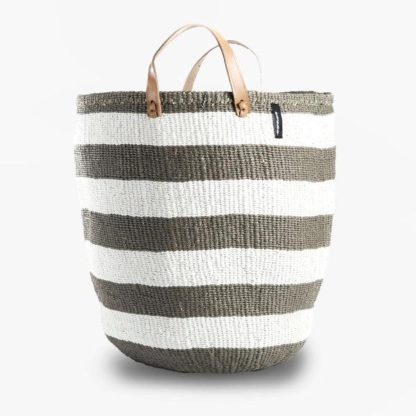 Mono Basket - Adia Light Gray with Leather Handles | Gaya Alegria