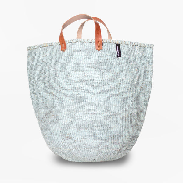 Mono Basket - Uma (Light Blue & Leather Handles) | Gaya Alegria