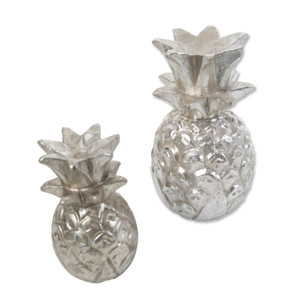 Wooden Pineapple decoration (Silver) - small & large