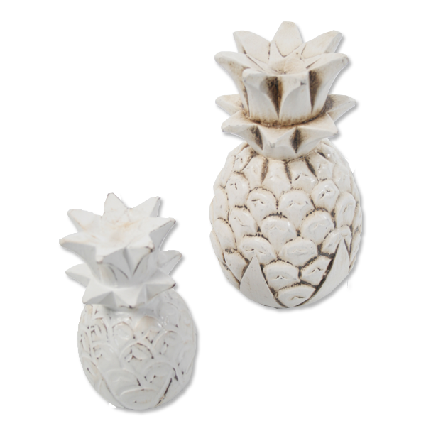 Wooden Pineapple decoration (white washed) - small & large | Gaya Alegria