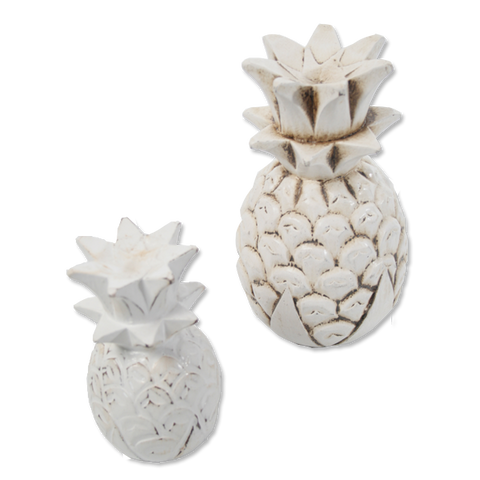 Wooden Pineapple decoration (white washed) - small & Medium