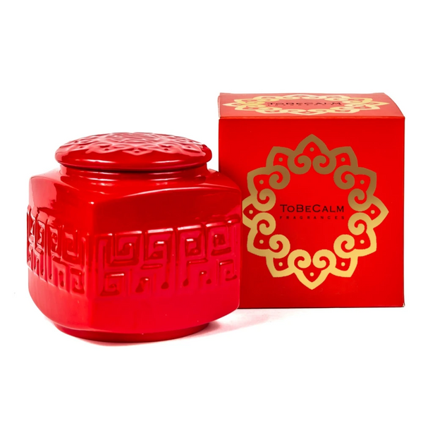 Scented Candle - To Be Calm - Red Porcelain Tea Caddy Candle (L) | Gaya Alegria