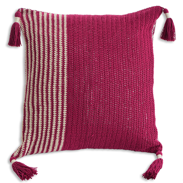 Cushion Cover 45 - Crochet Beet red slim (M / 45X45cm) | Gaya Alegria
