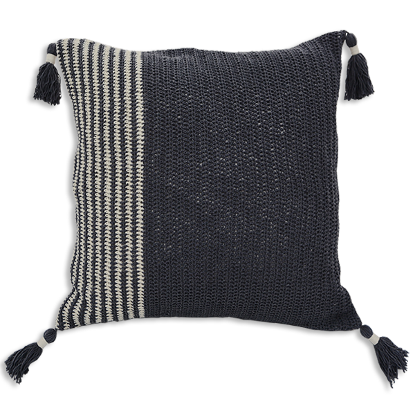 Cushion Cover 45 - Crochet Grey slim (M / 45X45cm) | Gaya Alegria