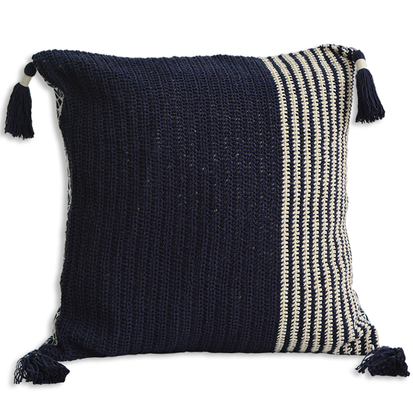 Cushion Cover 45 - Crochet Dark Navy slim (M / 45X45cm) | Gaya Alegria