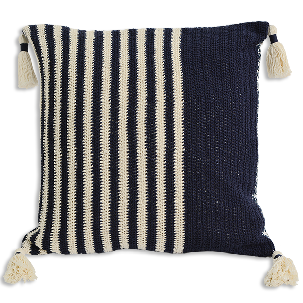 Cushion Cover - Crochet Dark Navy wide (M/45X45cm) | Gaya Alegria
