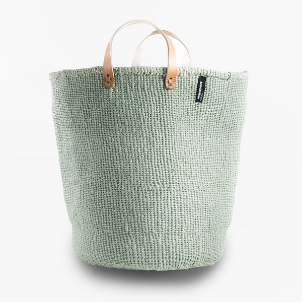 Mono Basket - Uma (Light Green & Leather Handles) | Gaya Alegria