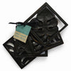 Black Leaf Wooden Coaster (Set of 4)