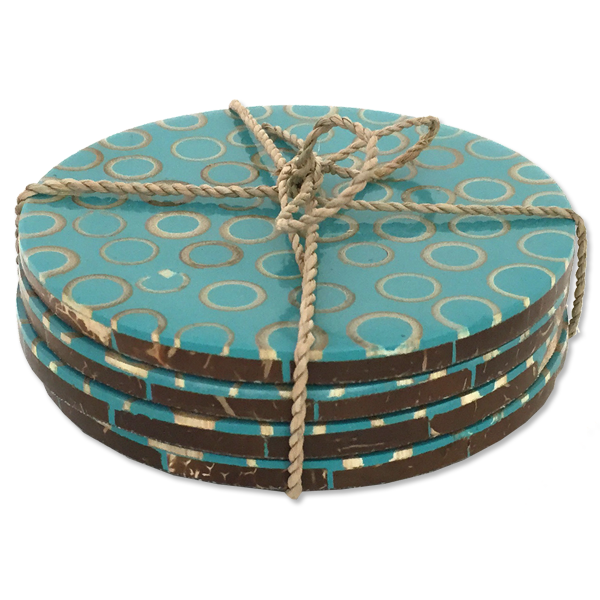 Teal Bamboo inlaid coaster - set of 4