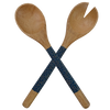 Dark Blue inlaid Mango Wood Salad Servers (Set) | Gaya Alegria