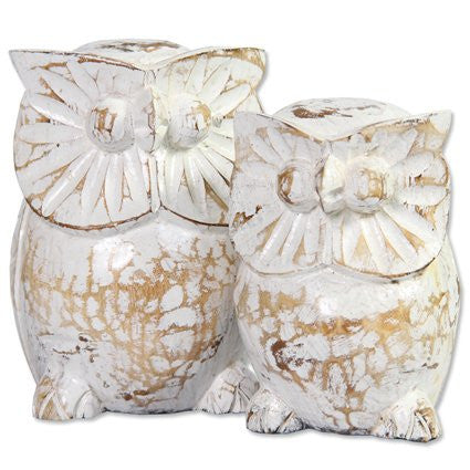 Wooden Owl - Small & Medium / White washed