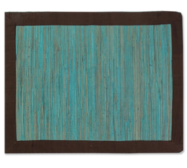 Waterlily Placemats - Teal / Brown (SET OF 4!)