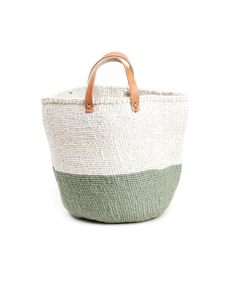 Basket - Sarah (White/Light Green & Leather Handles) | Gaya Alegria