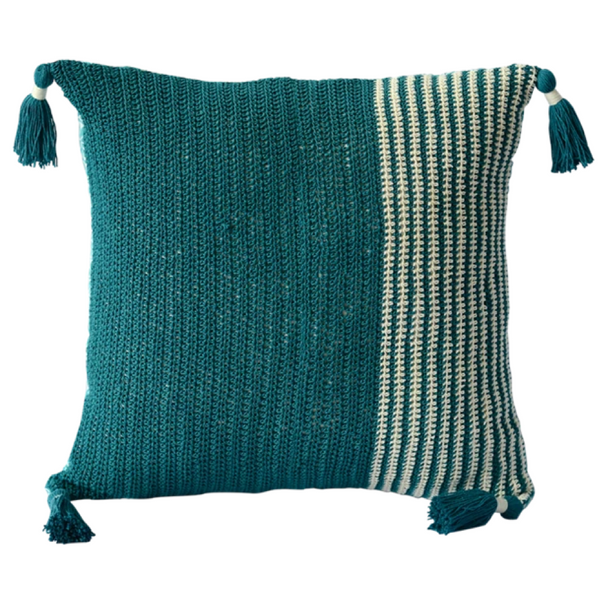Cushion Cover - Crochet teal slim (M/45x45cm) | Gaya Alegria