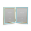 Photo Frame - Double Pastel Blue Laquer & Gold Frame