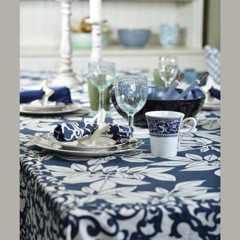 Table Cloth - Midnight Blue leaf