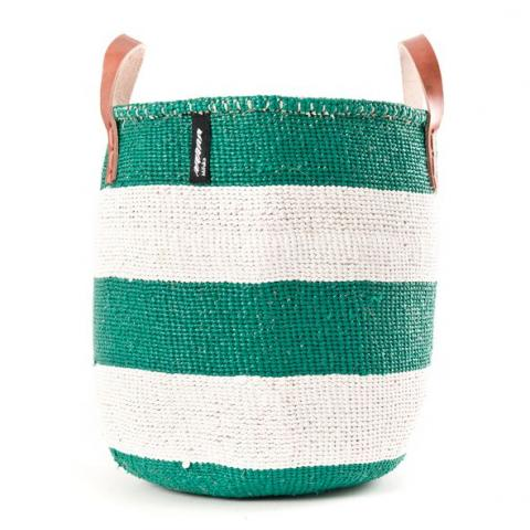 Basket - Adia (Green/White thick Stripe & Leather Handles) | Gaya Alegria